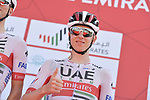 Tadej Pogacar (SLO) UAE Team Emirates at sign on before Stage 3 The Emirates Stage of the UAE Tour 2020 running 184km from Al Qudra Cycle Track to Jebel Hafeet, Dubai. 25th February 2020.<br /> Picture: LaPresse/Massimo Paolone | Cyclefile<br /> <br /> All photos usage must carry mandatory copyright credit (© Cyclefile | LaPresse/Massimo Paolone)
