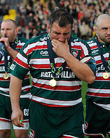 Julian White of Leicester Tigers wells up as he retires after the LV= Cup Final match between Leicester Tigers and Northampton Saints at Sixways Stadium, Worcester on Sunday 18 March 2012 (Photo by Rob Munro, Fotosports International)