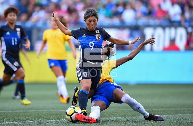 Seattle, WA - Thursday July 27, 2017: Kumi Yokoyama, Bruna Benites during a 2017 Tournament of Nations match between the women's national teams of the Japan (JAP) and Brazil (BRA) at CenturyLink Field.
