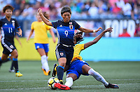 Seattle, WA - Thursday July 27, 2017: Kumi Yokoyama, Bruna Benites during a 2017 Tournament of Nations match between the women's national teams of the Japan (JAP) and Brazil (BRA) at CenturyLink Field.