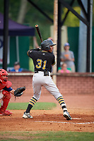 Bristol Pirates center fielder Eddy Vizcaino (31) at bat in front of catcher Trevor Casanova (33) during a game against the Elizabethton Twins on July 29, 2018 at Joe O'Brien Field in Elizabethton, Tennessee.  Bristol defeated Elizabethton 7-4.  (Mike Janes/Four Seam Images)