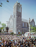 Saint Frances & Saint Agnes Church, Large crowd and bus in front of the church