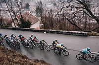leading peloton up the final climb with yellow jersey Luis Leon Sanchez (ESP/Astana) still among them<br /> <br /> 76th Paris-Nice 2018<br /> Stage 7: Nice > Valdeblore La Colmiane (175km)