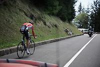 Lars Bak (DEN/Lotto-Soudal) as seen from the team car<br /> <br /> stage 15 (iTT): Castelrotto-Alpe di Siusi 10.8km<br /> 99th Giro d'Italia 2016