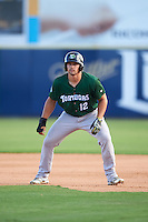 Daytona Tortugas pinch runner Brian O'Grady (12) leads off first during a game against the Brevard County Manatees on August 14, 2016 at Space Coast Stadium in Viera, Florida.  Daytona defeated Brevard County 9-3.  (Mike Janes/Four Seam Images)