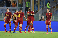 23rd September 2021;  Stadio Olimpicom, Roma, Italy; Serie A League Football, Roma versus Udinese;Tammy Abraham of As Roma celebrates after scoring the goal 1-0