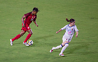 Carson, CA - Thursday August 03, 2017: Taylor Smith, Yui Hasegawa during a 2017 Tournament of Nations match between the women's national teams of the United States (USA) and Japan (JAP) at StubHub Center.
