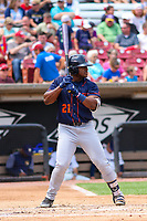 Bowling Green Hot Rods outfielder Moises Gomez (21) at bat during a Midwest League game against the Wisconsin Timber Rattlers on July 22, 2018 at Fox Cities Stadium in Appleton, Wisconsin. Bowling Green defeated Wisconsin 10-5. (Brad Krause/Four Seam Images)