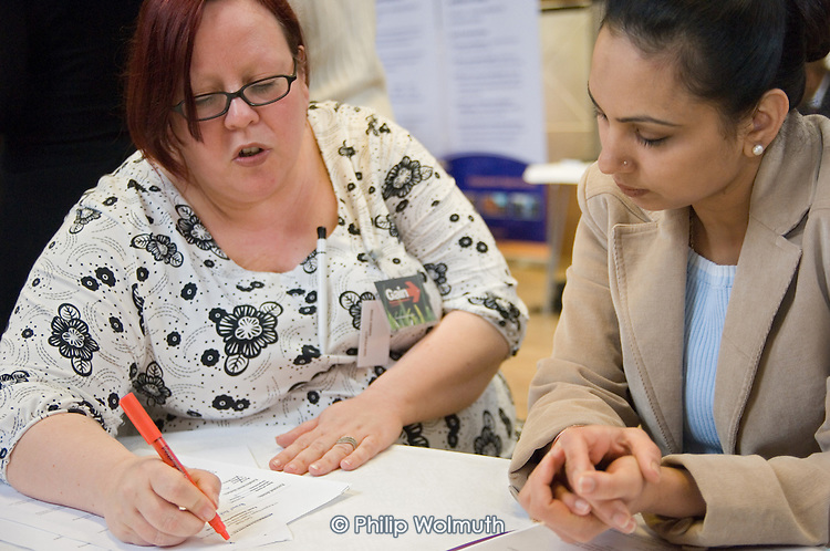 Help with CV writing by Gain, an organisation which promotes employment in Lambeth; Jobs Fair, Brixton Town Hall.