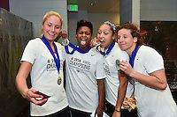 Houston, TX - Sunday Oct. 09, 2016: Taylor Smith, Jaelene Hinkle, Elizabeth Eddy, celebrates after a National Women's Soccer League (NWSL) Championship match between the Washington Spirit and the Western New York Flash at BBVA Compass Stadium. The Western New York Flash win 3-2 on penalty kicks after playing to a 2-2 tie.