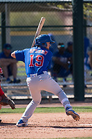 Chicago Cubs second baseman Austin Upshaw (19) during a Minor League Spring Training game against the Los Angeles Angels at Sloan Park on March 20, 2018 in Mesa, Arizona. (Zachary Lucy/Four Seam Images)