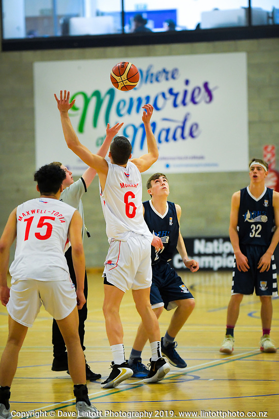 Action from the 2019 Schick AA Boys' Secondary Schools Basketball Premiership National Championship match between Rosmini College and Otago Boys' High School at the Central Energy Trust Arena in Palmerston North, New Zealand on Monday, 30 September 2019. Photo: Dave Lintott / lintottphoto.co.nz