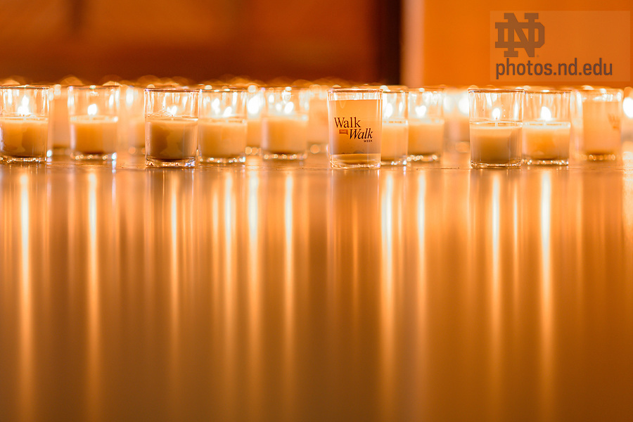 February 17, 2021; Candles cover the floor in the Main Building Rotunda for the 2021 Walk the Walk Week program. The annual event was modified from an in-person gathering to a recorded presentation due to ongoing COVID-19 protocols. (Photo by Matt Cashore/University of Notre Dame)