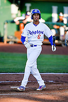 Moises Perez (6) of the Ogden Raptors at bat against the Grand Junction Rockies in Pioneer League action at Lindquist Field on June 20, 2016 in Ogden, Utah. The Rockies defeated the Raptors 5-2. (Stephen Smith/Four Seam Images)