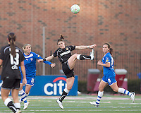 Western New York Flash midfielder Brittany Bock (21) intercepts a pass. In a Women's Professional Soccer (WPS) match, the Western New York Flash defeated the Boston Breakers, 2-1, at Harvard Stadium on April 17, 2011.