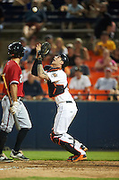 Frederick Keys catcher Jonah Heim (6) catches a popup during a game against the Carolina Mudcats on June 4, 2016 at Nymeo Field at Harry Grove Stadium in Frederick, Maryland.  Frederick defeated Carolina 5-4 in eleven innings.  (Mike Janes/Four Seam Images)