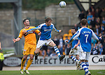 St Johnstone v Motherwell.....19.05.13      SPL.Murray Davidson gets above Michael Higdon.Picture by Graeme Hart..Copyright Perthshire Picture Agency.Tel: 01738 623350  Mobile: 07990 594431
