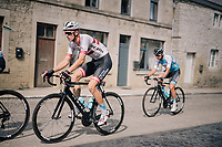Krists Neilands (LAT/Israel Cycling Academy) over the town's pavéd main road<br /> <br /> 59th Grand Prix de Wallonie 2018 <br /> 1 Day Race from Blegny to Citadelle de Namur (BEL / 206km)