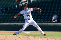 Mesa Solar Sox relief pitcher Ryan Clark (38), of the Los Angeles Angels organization, delivers a pitch during an Arizona Fall League game against the Salt River Rafters at Sloan Park on October 30, 2018 in Mesa, Arizona. Salt River defeated Mesa 14-4 . (Zachary Lucy/Four Seam Images)