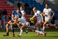 3rd October 2021; AJ Bell stadium, Eccles, Greater Manchester, England: Gallagher Premiership Rugby, Sale v Exeter ; Tom O'Flaherty of Exeter Chiefs tackles JP du Preez of Sale Sharks