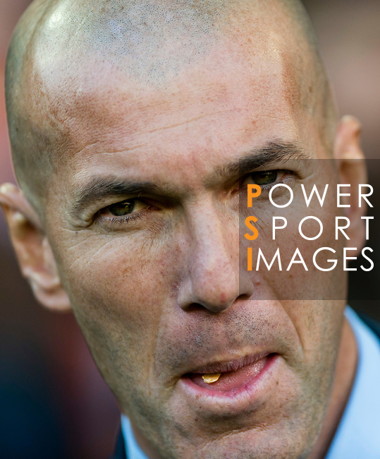 Manager Zinedine Zidane of Real Madrid reacts priori to the La Liga 2017-18 match between Valencia CF and Real Madrid at Estadio de Mestalla  on 27 January 2018 in Valencia, Spain. Photo by Maria Jose Segovia Carmona / Power Sport Images