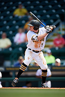 Bradenton Marauders second baseman Mitchell Tolman (5) at bat during a game against the Charlotte Stone Crabs on April 9, 2017 at LECOM Park in Bradenton, Florida.  Bradenton defeated Charlotte 5-0.  (Mike Janes/Four Seam Images)