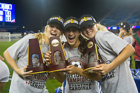 Stanford, CA - December 8, 2019: Abby Greubel, Bianca Caetano-Ferrara, Sierra Enge at Avaya Stadium. The Stanford Cardinal won their 3rd National Championship, defeating the UNC Tar Heels 5-4 in PKs after the teams drew at 0-0.