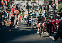 Remco Evenpoel (BEL) in the last local lap solo's to an impressive MEN JUNIOR ROAD RACE win & thus takes his 2nd rainbow jersey in just a few days (after winning the Juniors TT race as wel)<br /> <br /> Kufstein to Innsbruck: 132.4 km<br /> <br /> UCI 2018 Road World Championships<br /> Innsbruck - Tirol / Austria