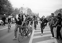 enthusiastic race winner: Fabian Cancellara (CHE/TrekFactoryRacing) escorted by Press Officer Tim Vanderjeugd<br /> <br /> Ronde van Vlaanderen 2014
