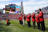 National Soccer Hall of Fame members including 2011 inductee Bob Gansler (waving) are honored before the game. The men's national team of Spain (ESP) defeated the United States (USA) 4-0 during a International friendly at Gillette Stadium in Foxborough, MA, on June 04, 2011.