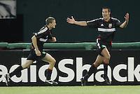 9 April 2005.  Mike Petke (12) celebrates his goal with DC United teammate Josh Gros (17)  at RFK Stadium in Washington, DC.