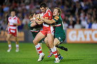 20130809 Copyright onEdition 2013 ©<br /> Free for editorial use image, please credit: onEdition.<br /> <br /> Matt Cox of Gloucester Rugby 7s is tackled by Steve Wood of Leicester Tigers 7s during the finals of the J.P. Morgan Asset Management Premiership Rugby 7s Series.<br /> <br /> The J.P. Morgan Asset Management Premiership Rugby 7s Series kicked off for the fourth season on Thursday 1st August with Pool A at Kingsholm, Gloucester with Pool B being played at Franklin's Gardens, Northampton on Friday 2nd August, Pool C at Allianz Park, Saracens home ground, on Saturday 3rd August and the Final being played at The Recreation Ground, Bath on Friday 9th August. The innovative tournament, which involves all 12 Premiership Rugby clubs, offers a fantastic platform for some of the country's finest young athletes to be exposed to the excitement, pressures and skills required to compete at an elite level.<br /> <br /> The 12 Premiership Rugby clubs are divided into three groups for the tournament, with the winner and runner up of each regional event going through to the Final. There are six games each evening, with each match consisting of two 7 minute halves with a 2 minute break at half time.<br /> <br /> For additional images please go to: http://www.w-w-i.com/jp_morgan_premiership_sevens/<br /> <br /> For press contacts contact: Beth Begg at brandRapport on D: +44 (0)20 7932 5813 M: +44 (0)7900 88231 E: BBegg@brand-rapport.com<br /> <br /> If you require a higher resolution image or you have any other onEdition photographic enquiries, please contact onEdition on 0845 900 2 900 or email info@onEdition.com<br /> This image is copyright the onEdition 2013©.<br /> <br /> This image has been supplied by onEdition and must be credited onEdition. The author is asserting his full Moral rights in relation to the publication of this image. Rights for onward transmission of any image or file is not granted or implied. Changing or deleting Copyright information is illegal as specified in the Copyright, Design and Patents Act 1988. If you are in any way unsure of your ri
