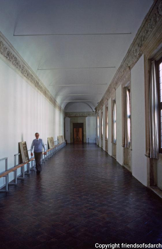 Urbino:   Ducal Palace--hallway.  Photo '83.