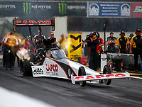 Sep 21, 2018; Madison, IL, USA; NHRA top fuel driver Steve Torrence during qualifying for the Midwest Nationals at Gateway Motorsports Park. Mandatory Credit: Mark J. Rebilas-USA TODAY Sports