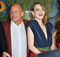 """LOS ANGELES, USA. October 11, 2019: Woody Harrelson & Emma Stone at the premiere of """"Zombieland: Double Tap"""" at the Regency Village Theatre.<br /> Picture: Paul Smith/Featureflash"""