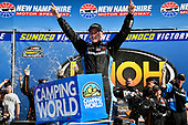 NASCAR Camping World Truck Series<br /> UNOH 175 <br /> New Hampshire Motor Speedway<br /> Loudon, NH USA<br /> Saturday 23 September 2017<br /> Christopher Bell, SiriusXM Toyota Tundra celebrates his win<br /> World Copyright: Rusty Jarrett<br /> LAT Images