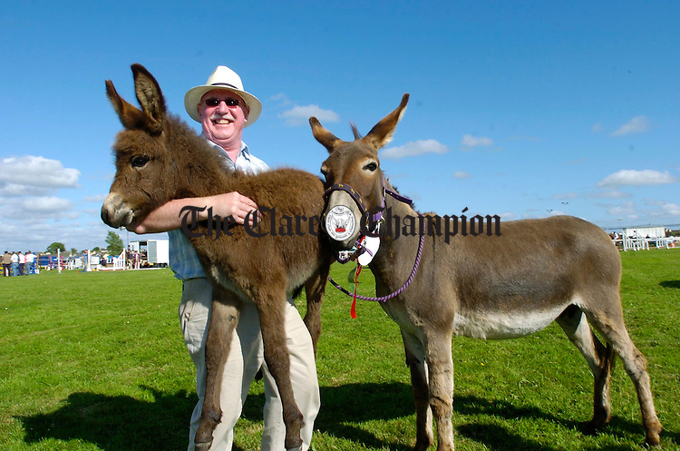 Gerry O Loooney of Quin with his donkey and foal at the County Clare Agricultural Show in Ennis. Photograph by John Kelly.
