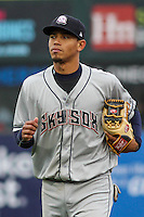 Colorado Springs Sky Sox shortstop Orlando Arcia (2) during a Pacific Coast League game against the Iowa Cubs on May 1st, 2016 at Principal Park in Des Moines, Iowa.  Colorado Springs defeated Iowa 4-3. (Brad Krause/Four Seam Images)