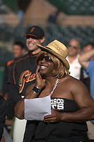 Barry Bonds plays Paula Abdul in a skit about American Idol during San Francisco Giants spring training at Scottsdale Stadium in Scottsdale, AZ on February 28, 2006. Photo by Brad Mangin