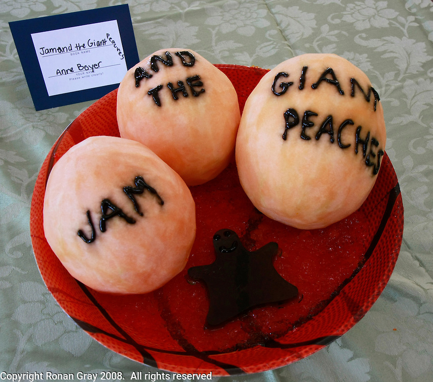"""An entry titled """"Jam and the Giant Peach"""" is displayed during the San Diego Book Arts ninth annual Edible Book Tea at the Watercolor Society Gallery, NTC Pomenade, Liberty Station, San Diego, California Saturday, April 5, 2008.  The event featured books made from edible materials amd prizes were award to the best entrants."""