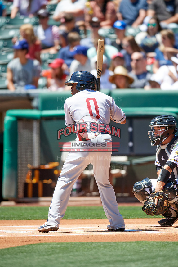 Delino DeShields (0) of the Round Rock Express at bat against the Salt Lake Bees at Smith's Ballpark on May 31, 2021 in Salt Lake City, Utah. The Express defeated the Bees 8-6. (Stephen Smith/Four Seam Images)
