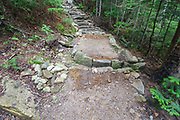 Fresh dirt has been placed around stone work on the Mt Tecumseh Trail in Waterville Valley, New Hampshire during the summer of 2013.
