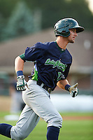 Vermont Lake Monsters shortstop Eli White (27) runs to first base during a game against the Auburn Doubledays on July 12, 2016 at Falcon Park in Auburn, New York.  Auburn defeated Vermont 3-1.  (Mike Janes/Four Seam Images)