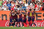 Barcelona´s players celebrate Neymar Jr´s goal during La Liga match between Rayo Vallecano and Barcelona at Vallecas stadium in Madrid, Spain. October 04, 2014. (ALTERPHOTOS/Victor Blanco)