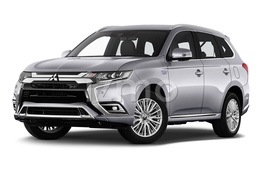 Stock pictures of low aggressive front three quarter view of 2020 Mitsubishi Outlander-PHEV Intense 5 Door SUV Low Aggressive