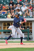 Tyson Gillies (13) of the Lehigh Valley IronPigs at bat against the Charlotte Knights at BB&T Ballpark on May 8, 2014 in Charlotte, North Carolina.  The IronPigs defeated the Knights 8-6.  (Brian Westerholt/Four Seam Images)