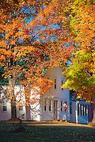 Charming autumn farmhouse, New Hampshire, USA.