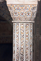 """Agra, India.   Pietra Dura Stonework at the Itimad-ud-Dawlah, Mausoleum of Mirza Ghiyas Beg.  The tomb is sometimes referred to as the """"Baby Taj.""""  It is one of the finest examples of pietra dura work, the use of inlaid colored stones to make floral or geometric designs."""