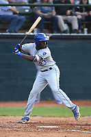 Burlington Royals David Hollie (23) bats during a game with the Bristol Pirates at Boyce Cox Field on June 19, 2019 in Bristol, Virginia. The Royals defeated the Pirates 1-0. (Tracy Proffitt/Four Seam Images)