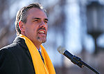 "Nevada Superintendent Dale Erquiaga speaks to several hundred supporters at a ""Nevada Supports School Choice"" rally in support of educational choices on the Capitol grounds in Carson City, Nev., on Wednesday, Jan. 28, 2015.<br /> Photo by Cathleen Allison"